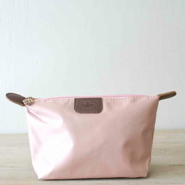 LARGE ROSE GOLD NYLON COSMETIC POUCH