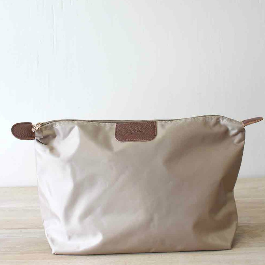 LARGE TAUPE NYLON COSMETIC POUCH