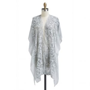 LIGHTWEIGHT KIMONO WITH FLORAL EMBROIDERY