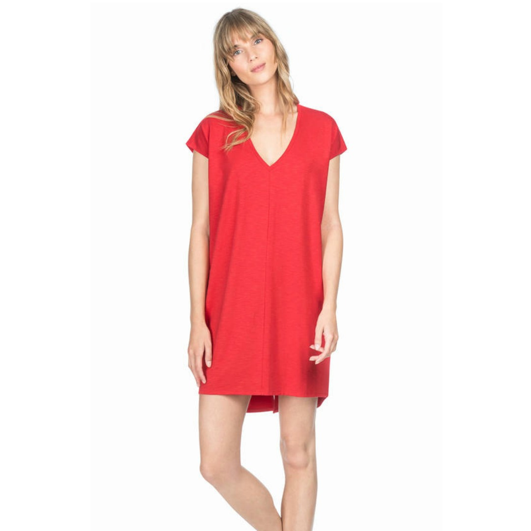 LILLA P CHERRY V-NECK DRESS