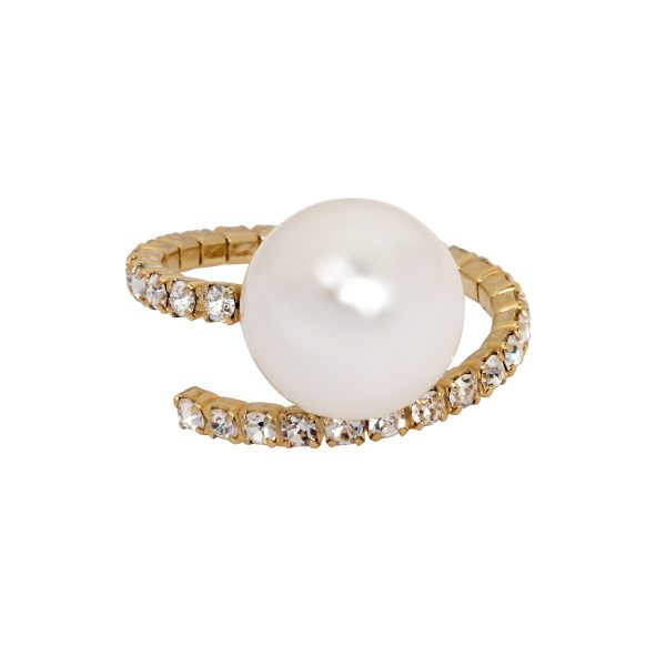 LISA FREEDE KRIS LARGE PEARL STRETCH RING