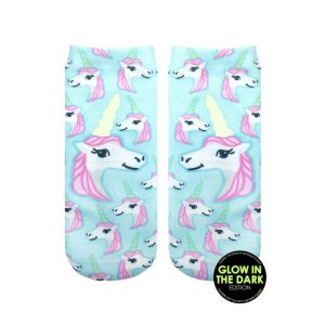 LIVING ROYAL PASTEL UNICORN GLOW IN THE DARK ANKLE SOCKS