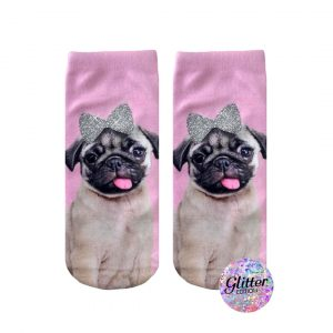 LIVING ROYAL PUG WITH A BOW GLITTER ANKLE SOCKS
