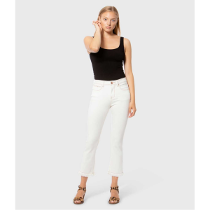 LOLA JEANS KATE ECRU HIGH RISE STRAIGHT CROP JEANS