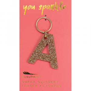 LUCKY FEATHER GLITTER KEYCHAIN