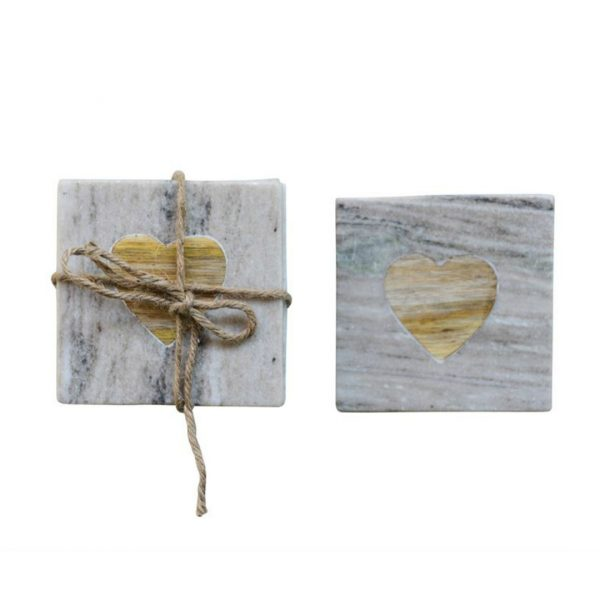 MARBLE COASTERS WITH WOOD HEART INSERT