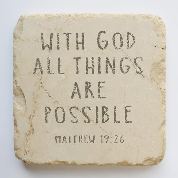 MATTHEW 19:26 SMALL, HALF AND QUARTER STONE BLOCK