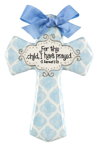MEDIUM BLUE QUATREFOIL FOR THIS CHILD CROSS