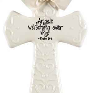 MEDIUM CREAM ANGELS WATCHING CROSS