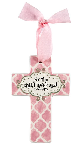 MEDIUM PINK QUATREFOIL FOR THIS CHILD CROSS
