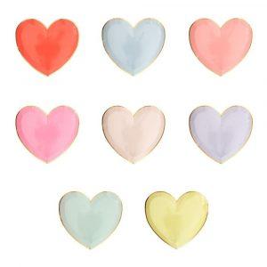 MERI MERI SMALL PASTEL PALETTE HEART PLATES