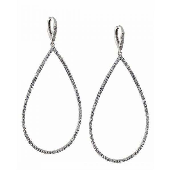 LISA FREEDE MICRO PAVE OPEN TEARDROP EARRINGS