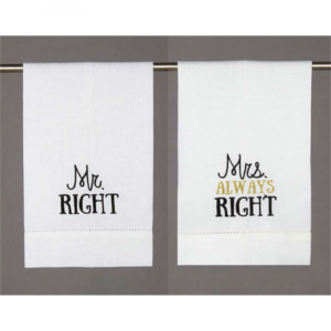 MR RIGHT AND MRS ALWAYS RIGHT GUEST TOWELS