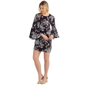 MUDPIE BLACK BROOKS BELL SLEEVE DRESS