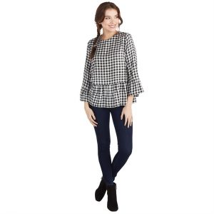 MUDPIE BLACK GINGHAM FLORA FLOUNCE TOP