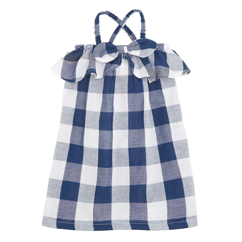 MUDPIE BLUE GINGHAM BOW DRESS