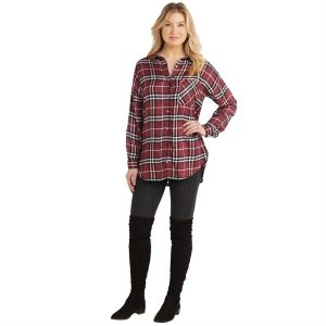 MUDPIE BURGUNDY ROCKY BUTTON DOWN
