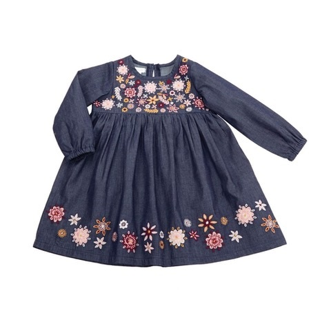 MUDPIE CHAMBRAY FLORAL EMBROIDERY DRESS