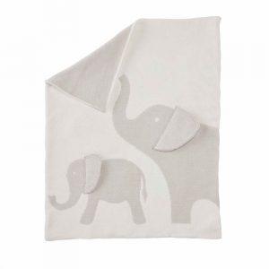MUDPIE GREY ELEPHANT CHENILLE BLANKET