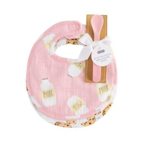MUDPIE PINK MILK MUSLIN BIB AND SPOON