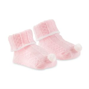 MUDPIE PINK POM CABLE KNIT SOCKS