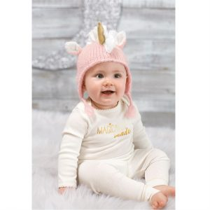 MUDPIE PINK UNICORN KNIT HAT