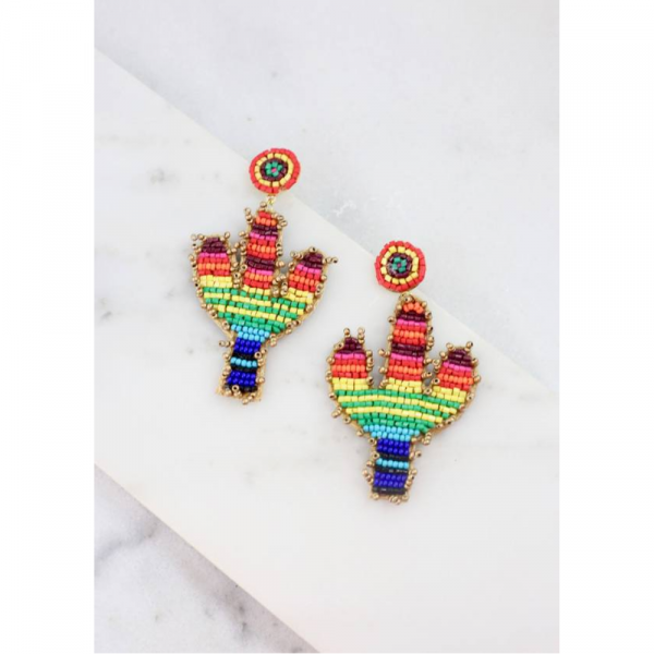 MULTI FIESTA SEAD BEAD CACTUS EARRINGS