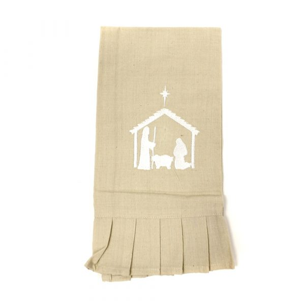 NATIVITY RUFFLED HAND TOWEL