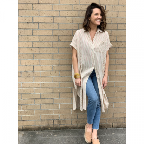 NATURAL LONG BUTTON DOWN TUNIC