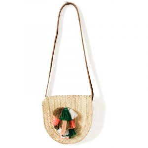 NATURAL POM POM WICKER BASKET CROSSBODY