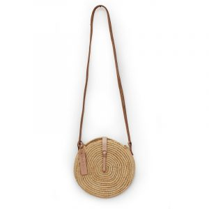 NATURAL STRAW RAFFIA ROUND BAG