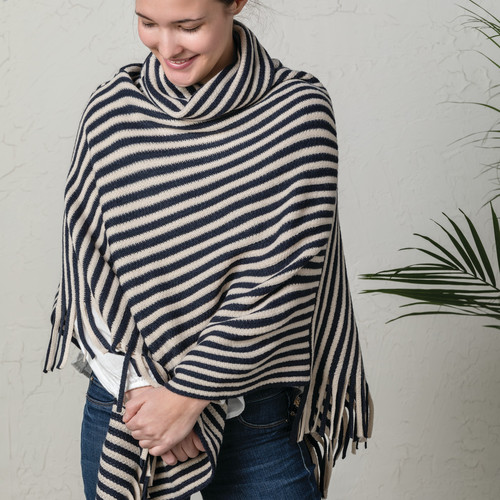 NAVY AND CREAM COWL NECK PONCHO