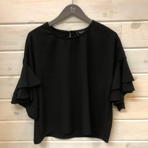 OAT NY BLACK RUFFLE SLEEVE TOP