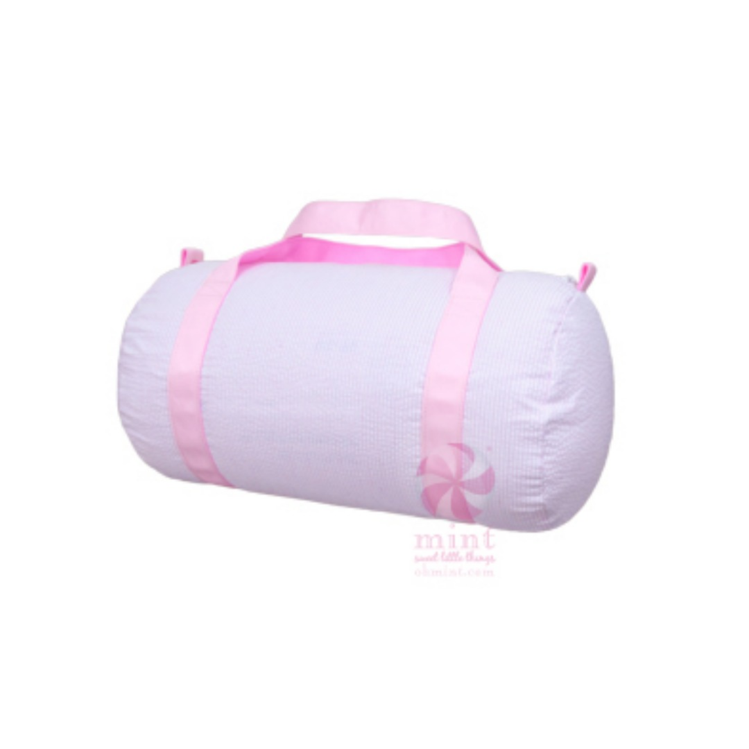 OH MINT PINK SEERSUCKER MEDIUM DUFFEL