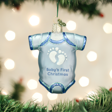 OLD WORLD CHRISTMAS BLUE BABY ONESIE