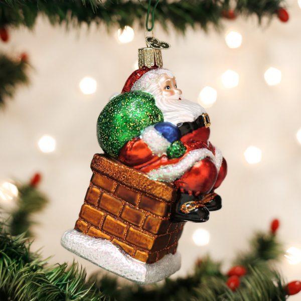 OLD WORLD CHRISTMAS CHIMNEY STOP SANTA ORNAMENT