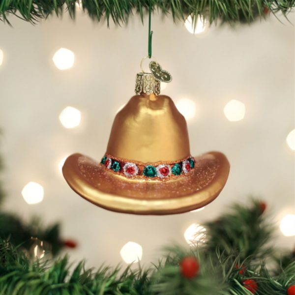 OLD WORLD CHRISTMAS COWBOY HAT ORNAMENT