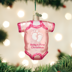 OLD WORLD CHRISTMAS PINK BABY ONESIE