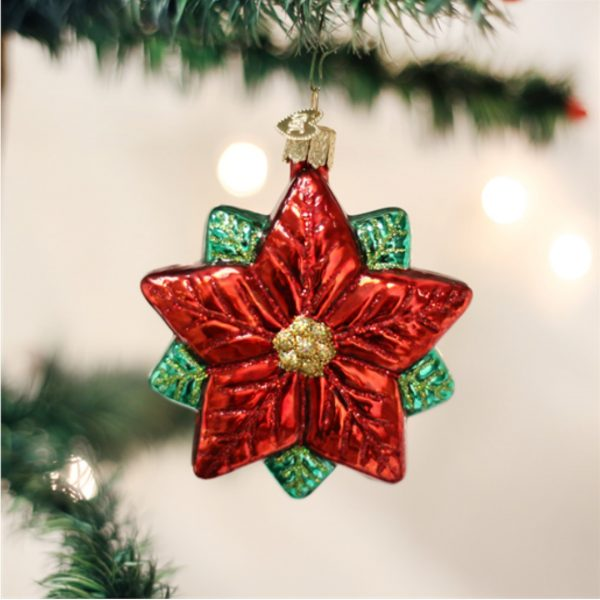 OLD WORLD CHRISTMAS POINSETTIA STAR ORNAMENT