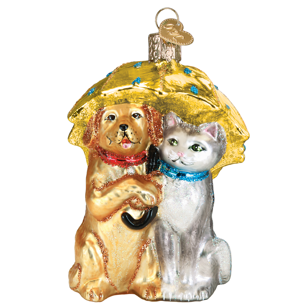 OLD WORLD CHRISTMAS RAINING CATS AND DOGS ORNAMENT