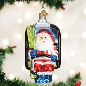 OLD WORLD CHRISTMAS SANTA ON SKI LIFT ORNAMENT