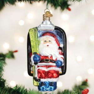OLD WORLD CHRISTMAS SANTA ON SKI LIFT ORNAMENT