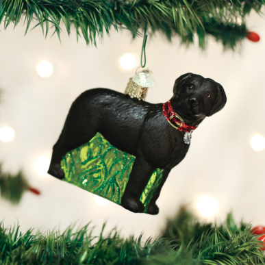 OLD WORLD CHRISTMAS STANDING BLACK LAB ORNAMENT