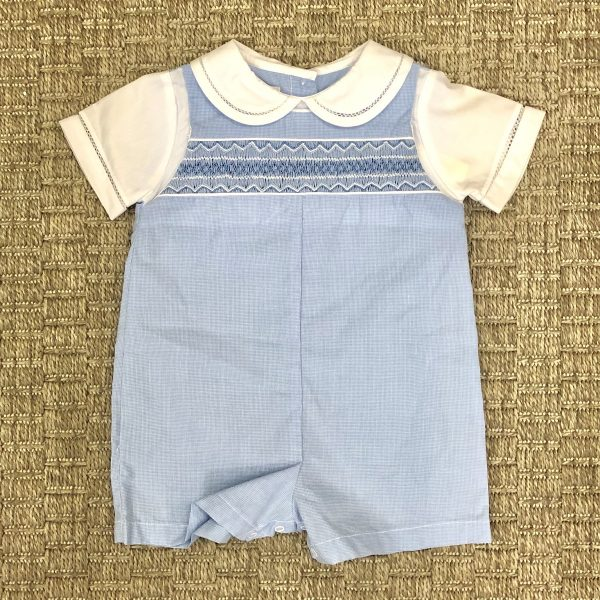 PETIT AMI BLUE ROMPER WITH WHITE COLLAR
