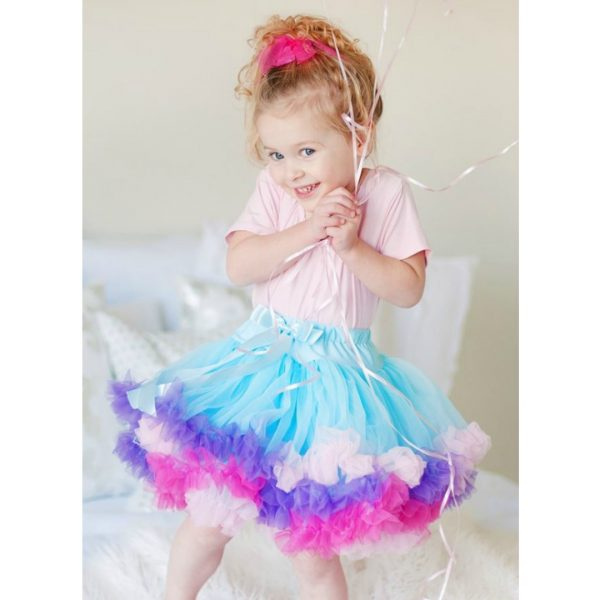 PINK AND BLUE RAINBOW PETTICOAT SKIRT