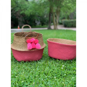 MUDPIE PINK COLLAPSABLE BASKETS