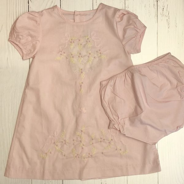 PINK DRESS WITH ROSEBUDS AND BLOOMERS