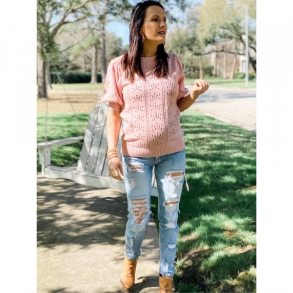 PINK PUFF SLEEVE KNIT SWEATER TOP