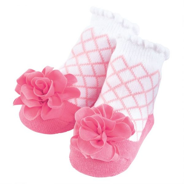 PINK LATTICE FLOWER SOCKS