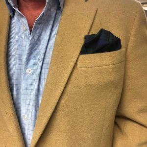 BLUE & GREEN PLAID POCKET SQUARE